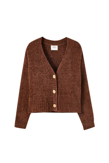 Brown knit pyjama cardigan