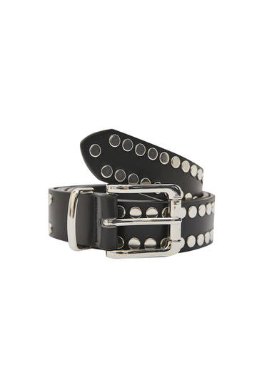 Faux leather belt with studs