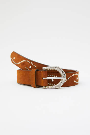 Faux suede belt with snakeskin print buckle