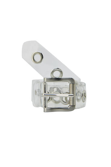 Transparent belt with a metallic buckle