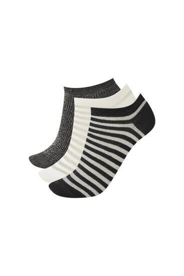 3-pack of striped ankle socks