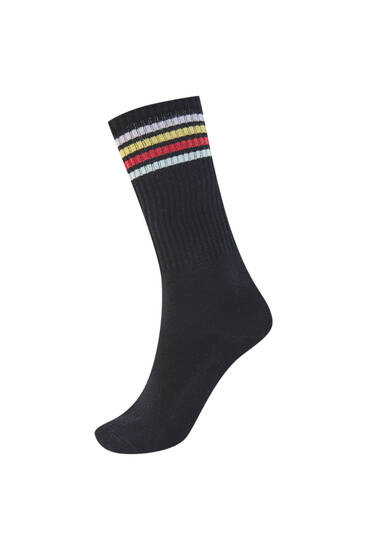 Sports socks with coloured stripes