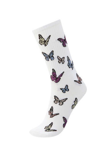 White butterfly print socks
