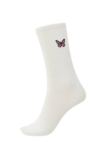 Long butterfly print socks
