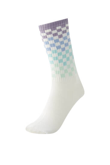 Ombré check print socks