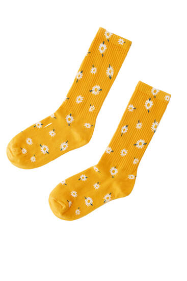 Daisy long socks - ecologically grown cotton (at least 50%)