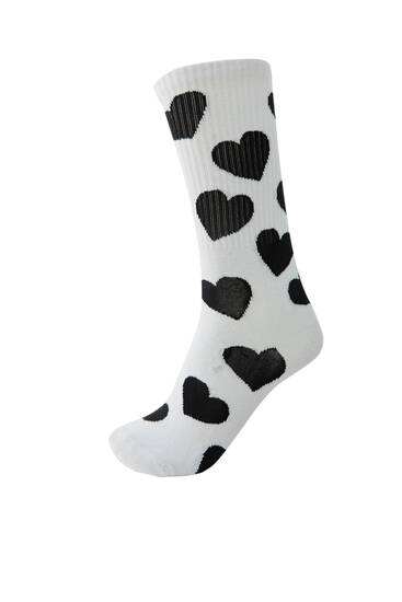 All-over heart print sports socks