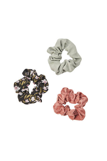 Pack of 3 corduroy and floral print scrunchies