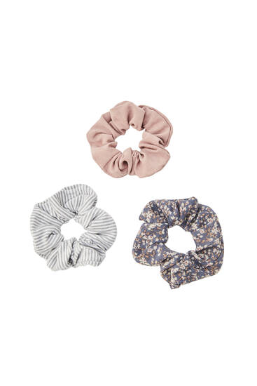 3-pack of floral and striped scrunchies