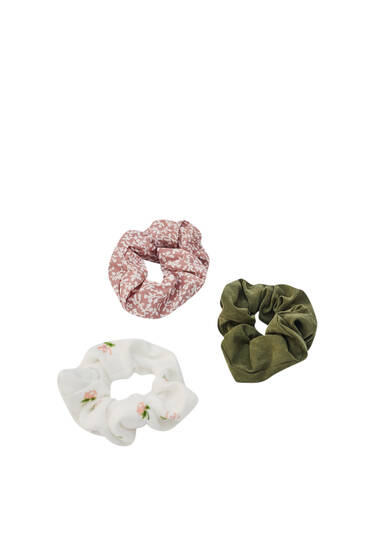 Pack of 3 ribbed floral print scrunchies
