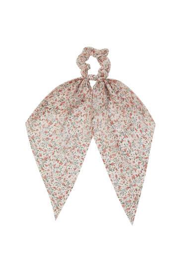 Floral bow pastel scrunchie