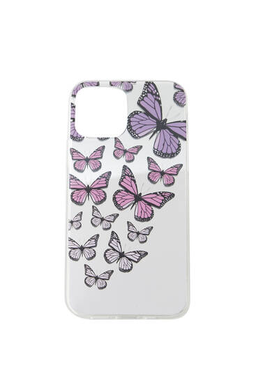 Butterfly print mirrored smartphone case