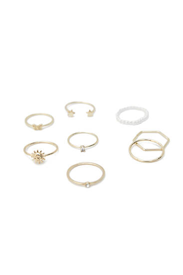 Pack of 8 metallic pearl bead rings