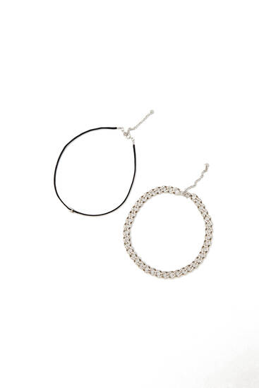 2-pack of chain choker necklaces