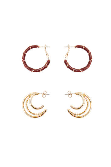 Pack of gold-toned hoop earrings