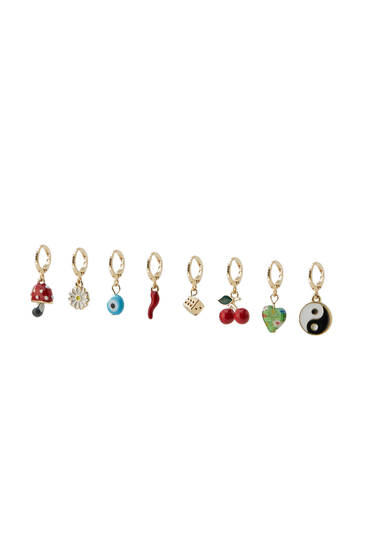 8-pack of enamel charm earrings