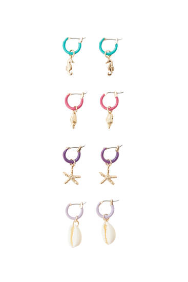 Pack of colourful dangle earrings