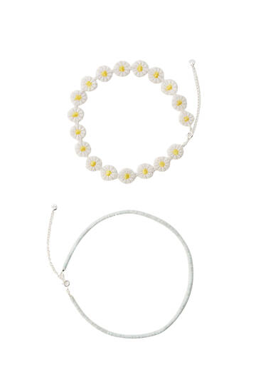 2-pack of daisy and bead chokers