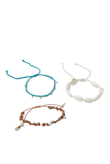 3-pack of seashell anklets