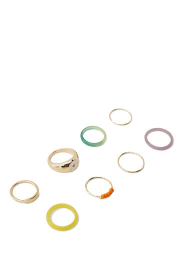 8-pack of gold-toned and resin rings
