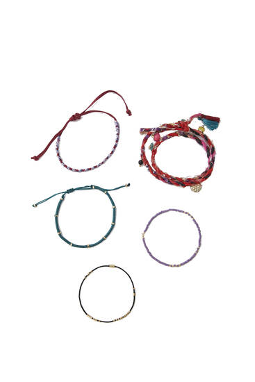 Pack of 5 beaded thread bracelets