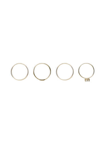 4-pack of gold-plated zirconia rings