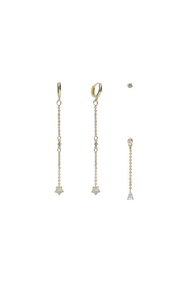 4-pack of gold-plated zirconia earrings