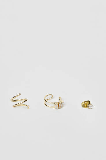 3-pack of gold-plated zirconia earrings and ear cuffs
