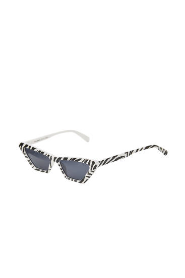 Cat-eye zonnebril met zebraprint