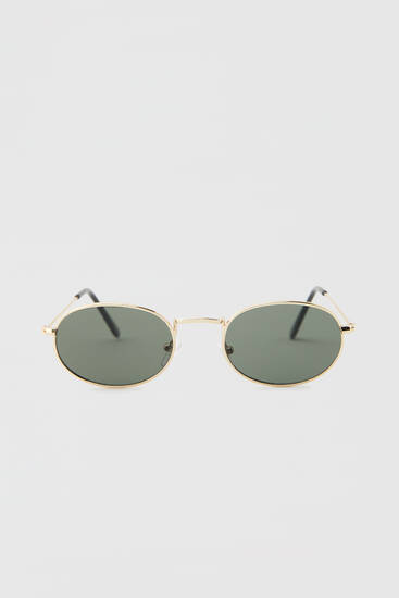 Oval metallic sunglasses