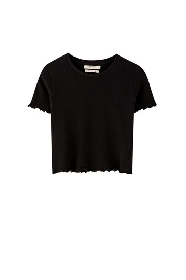 Basic T-shirt med flossede kanter