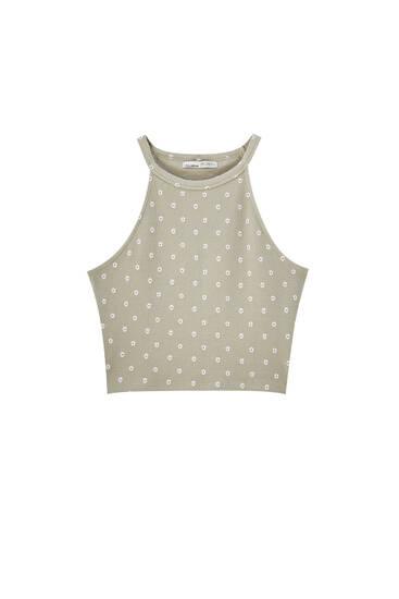 Floral halter neck T-shirt