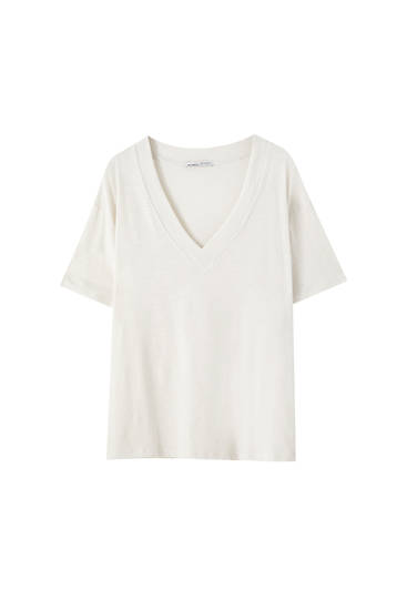 Oversize slub knit T-shirt - at least 50% ecologically grown cotton