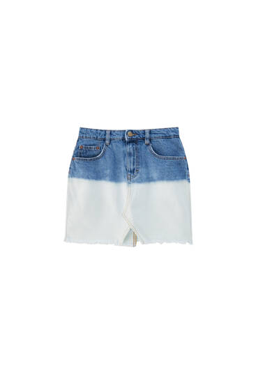 Tie-dye denim mini skirt
