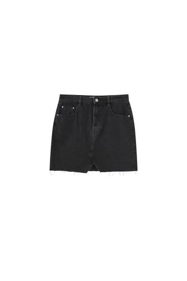 Minifalda denim abertura delantera