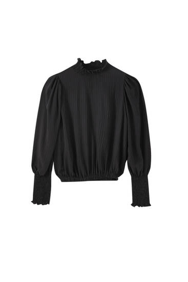 Black blouse with shirred detail