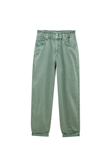Green slouchy jeans