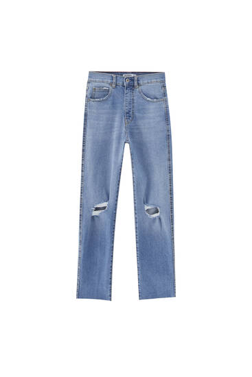 Slim fit mom jeans with ripped knees - ecologically grown cotton (at least 50%)