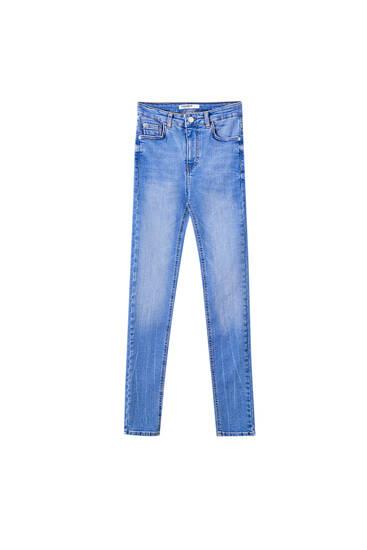 Mid-waist blue skinny jeans