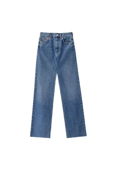High-waist blue jeans - Contains recycled cotton