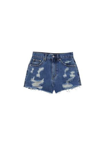 Джинсовые шорты mom fit с разрезами