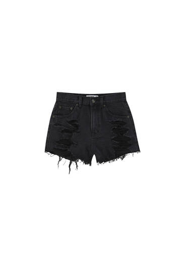 Mom fit ripped denim shorts