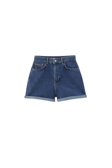 Mom fit Bermuda shorts with turn-up hems