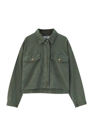Cotton jacket with front pockets