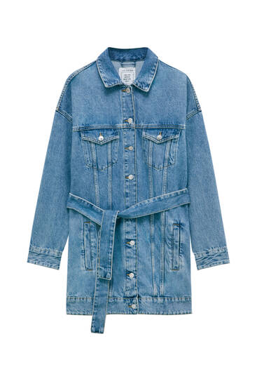 Long belted denim jacket