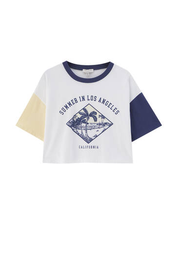 Graphic T-shirt with colourful sleeves - Ecologically grown cotton (at least 50%)