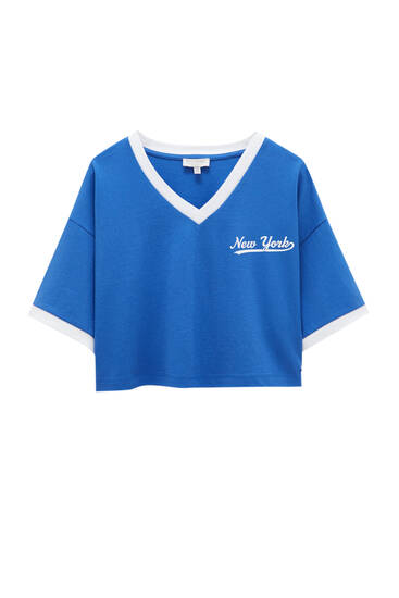 Blue cropped varsity T-shirt