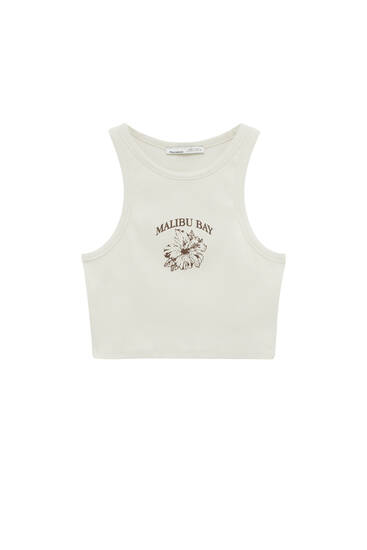 Crop top with contrasting graphic