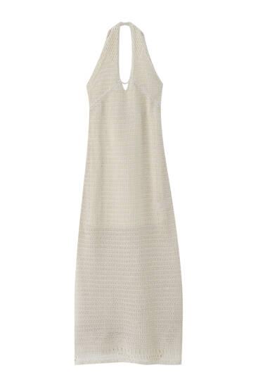 Lange crochet jurk met gekruist rugpand