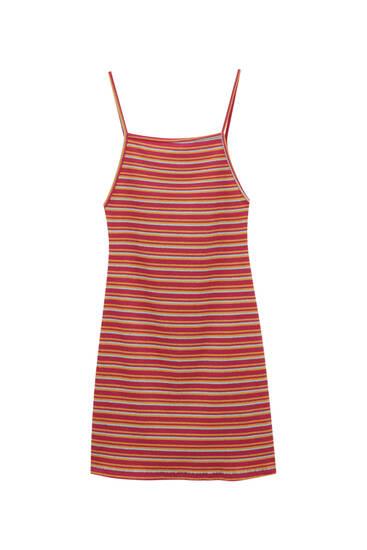 Kratka prugasta haljina s naramenicama